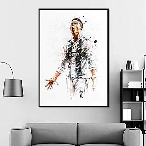 Schlafzimmer Wohnkultur ULIIM Fu/ßball Fu/ßballstar Ronaldo Sport Leinwand Poster Wand Kunstdruck F/ür Wohnzimmer