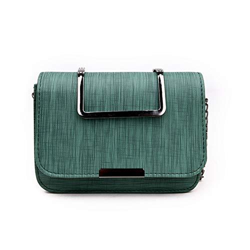 S. Charma lucido superficie PU materiale Piazza metallo serratura borsa mano metallo catena elegante tendenza legno grana Verde Sole