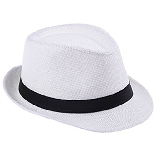 (CAOBOO Straw Men's Beach Dad Gangster Cap Sunhat Straw Panama Hat White)