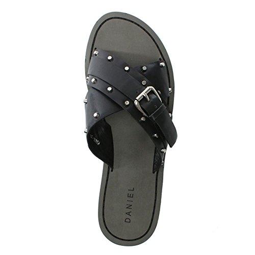 Daniel rasa Black Leather Studded Cross Strap Sliders Black Leather ZOg6xtaXE