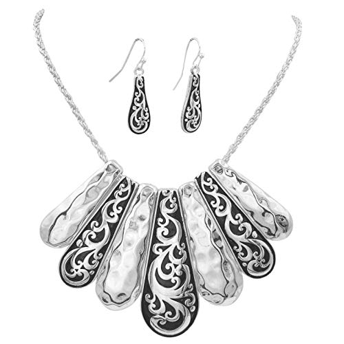 (Gypsy Jewels Unique Boutique Style Bib Statement Necklace & Dangle Earring Set (Black Swirl & Hammered)