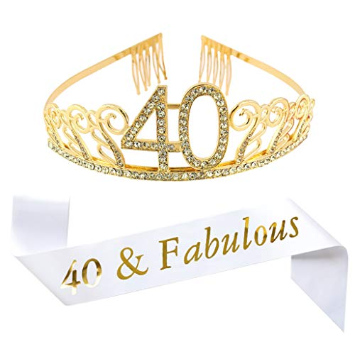 "40th Birthday Gold Tiara and Sash, White Glitter Satin Sash""40 & Fabulous"" and Crystal Rhinestone Birthday Crown for Happy 40th Birthday Party Supplies Favors Decorations 40th Birthday Cake Topper"