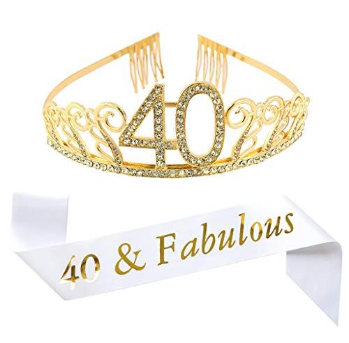 40th Birthday Gold Tiara and Sash, White Glitter Satin Sash