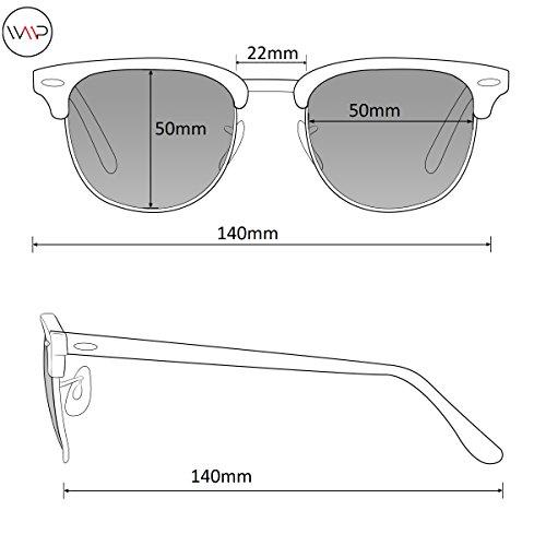 Retro Classic Metal Half Frame Horn Rimmed Sunglasses Black Frame / Tinted Green