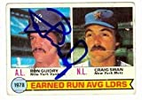 Autograph Warehouse 27135 Craig Swan & Ron Guidry Autographed Baseball Card New York Mets Yankees 1979 Era Leaders Card Signed In Pen And Sharpie By Guidry
