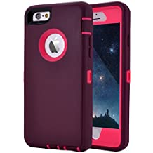 "iPhone 6 Plus/6S Plus Case, Crosstree Heavy Duty Shockproof Series Case for iPhone 6 Plus /6S Plus (5.5"") with Built-in Screen Protector Compatible with all US Carriers (Wine/Fushcia)"