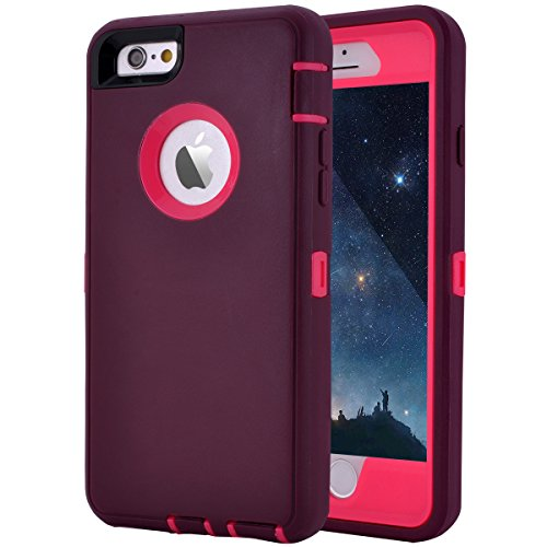 "iPhone 6 Plus/6S Plus Case, Maxcury Heavy Duty Shockproof Series Case for iPhone 6 Plus /6S Plus (5.5"") with Built-in Screen Protector Compatible with All US Carriers (Wine/Fushcia)"