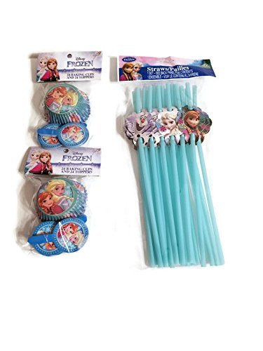 Disney Frozen Disposable Straws & 2-Pack Frozen Elsa & Anna Cupcake Liners & Toppers Bundle