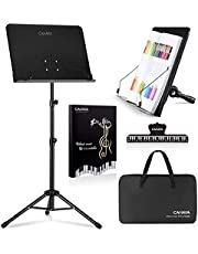 $27 » CAHAYA 4 in 1 Dual-use Sheet Music Stand & Desktop Book Stand Metal Portable Solid Back with Carrying Bag, Sheet Music Folder & Clip, Projector Stand, Laptop Stand, Bible Book Stand, Tablet Stand