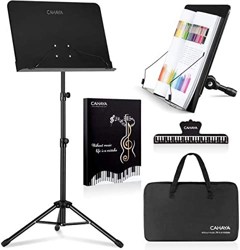 CAHAYA 2 in 1 Dual-use Sheet Music Stand & Desktop Book Stand Metal Portable Solid Back with Carrying Bag, Sheet Music Folder & Clip, Projector Stand, Laptop Stand, Bible Book Stand, Tablet Stand