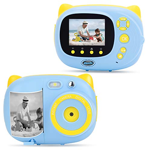 AMKOV Kids Camera Instant Print Digital Camera with Zero Ink Printing for Girls & Boys, WiFi Camera for Kids, 2.4inch LCD Display, Auto-Focusing, Auto-Flashlight, Creative Toys – Blue