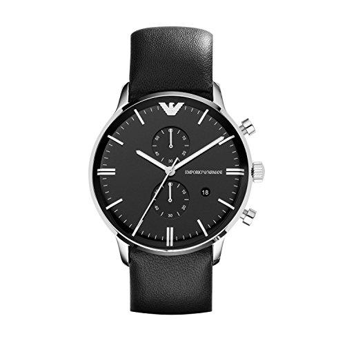 Emporio Armani Leather - Emporio Armani Men's AR0397 Black Leather Watch