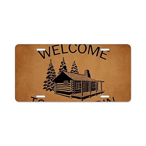 SUJQNGC Welcome to The Cabin Auto License Plate Sign Tag Size Home Pub Bar Decor 6 X 12 Inch