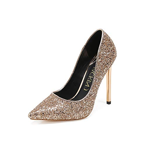 Mackin J Pumps 226-4 Women's Glitter Pointed Toe Pumps High Heel Stiletto Pump Wedding Evening Party Shoes Dress Sandals Pump (10, Rose Gold)
