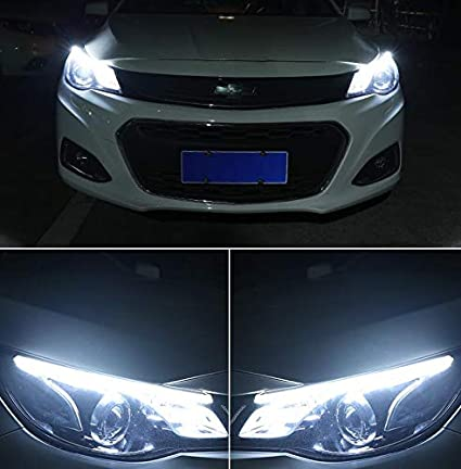 2Pcs 11-inch Ultrafine LED Strip Tube Flexible Waterproof Daytime Running Light Suitable For Switchback Headlight LED Strip,Running Light,Flowing Turn Signal Light Ice Blue//Sequence Amber 30cm