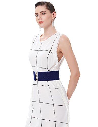 Elastic Interlocking Buckle Casual Wear Belts for Ladies Navy Blue(S) CL8962-5