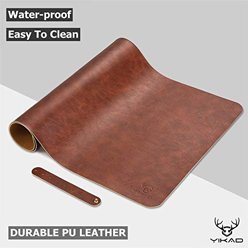 "Yikda Extended Leather Gaming Mouse Pad / Mat, Large Office Writing Desk Computer Leather Mat Mousepad,Waterproof,Ultra Thin 1.2mm - 31.5""x15.7"" (Dark Brown)"