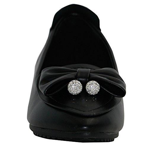 AalarDom Mujer Sin cordones Puntera en Punta Material Suave Sólido Plano con Pajarita Negro-Colgantes