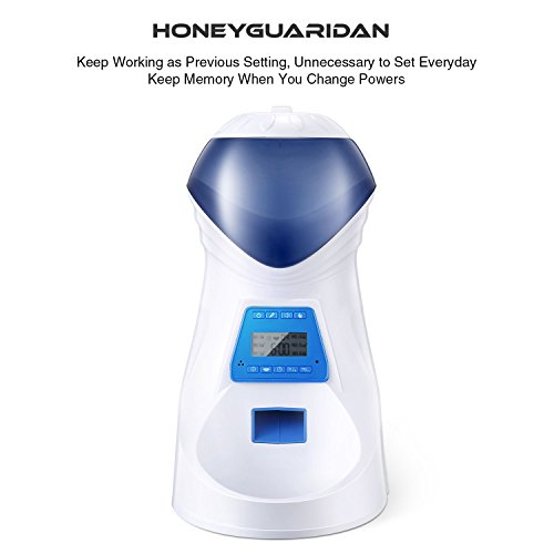HoneyGuaridan A25 Automatic Pet Feeder Food Dispenser with Removable Food Container, Portion Control,Voice Recording and Timer Programmable, 6-Meal for Dogs (Medium and Small) and Cats & Small Animal by HoneyGuaridan (Image #6)