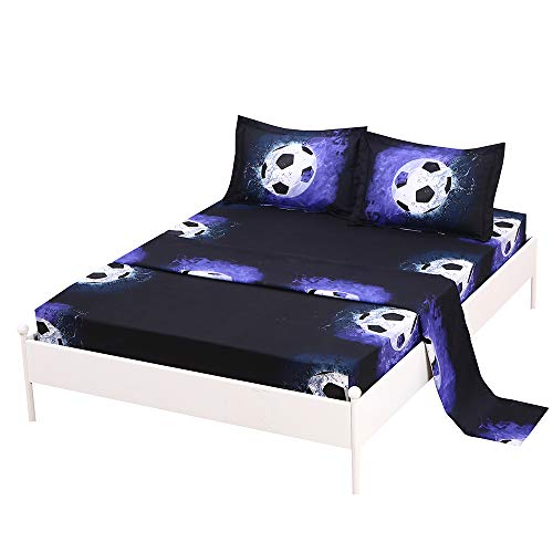 SDIII 3PC Soccer Bedding Sheet Sets Twin Size Sport Bed Sheets with Flat Fitted Sheet for Boys, Girls and - Sheets Set Football Bed Bedding