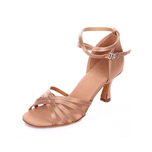 Miyoopark KBTS001 Womens Cross Strap Satin Latin Salsa Tango Wedding Sandals Khaki jbGvEsMWD