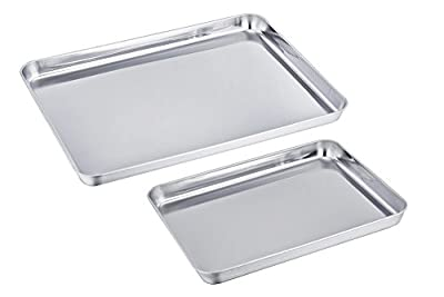 TeamFar Stainless Steel Baking Sheet Bakeware Cookie Pan Tray Set Professional, Non Toxic & Healthy, High Quality & Heavy Duty, Non Stick & Easy Clean, Deep Edge, Set of 2, Dishwasher Safe