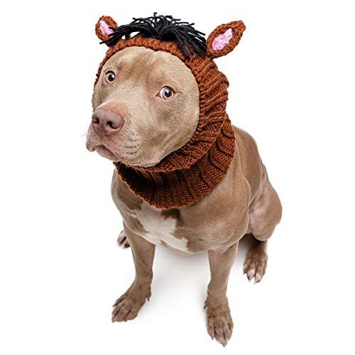 Horse Halloween Costume For Dogs (Zoo Snoods Horse Dog Costume - Neck and Ear Warmer Headband for Pets)