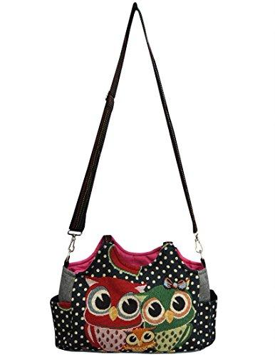 Eule Eulen Tasche Handtasche Henkeltasche ***EULENFAMILIE*** Shoppertasche Schultertasche Eulenmotiv Umhängetasche - VINTAGE LOOK / absolut cool und stylish - SCHWARZ gepunktet