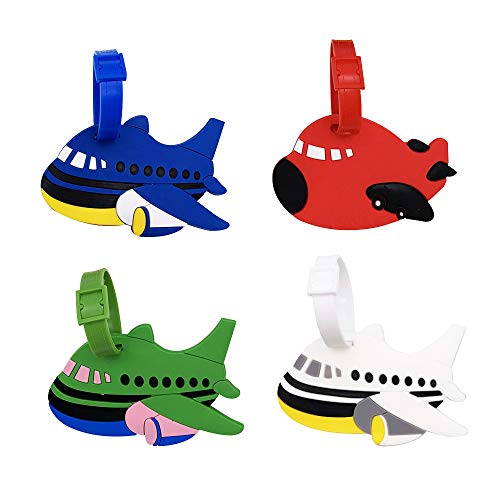 Mziart Set of 4 Cute Cartoon Airplane Luggage Tags Fun Suitcase Bag Identify Label TSA Airlines Travel ID Baggage Tags Name Card Holders (Shaped Luggage Tag)