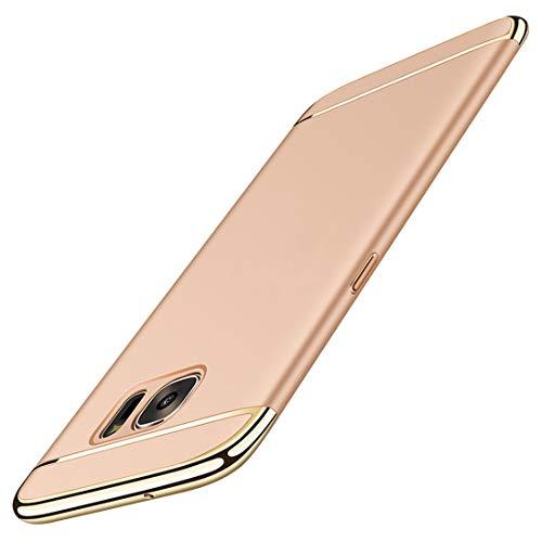 Galaxy S6/S6 Edge Case Slim Cover Anti-Scratch Protection 3 in 1 Hard Mobile Phone Ultra Electroplate Frame Full Protective Samsung Galaxy S6 Edge Plus 360 Coverage (S6 Edge Plus, Gold)