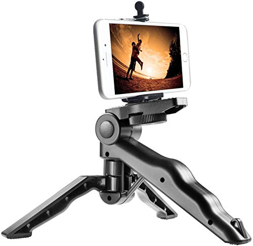 CEUTA® Mini Smartphone Tripod Grip Stabilizer, Desktop Tabletop Stand Tripod with Phone Holder and 2 in 1 Holder for iPhone Samsung Huawei and All Phones