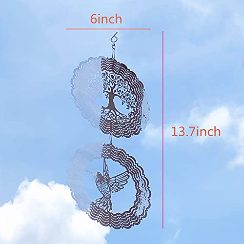 Joojus 3D Stainless Steel Metal Sculptures Kinetic Hanging Wind Spinner Yard Art Garden Decor Christmas Decoration Room Decor Indoor Outdoor Garden Decoration for Patio and Lawn Ornaments Art