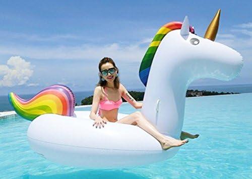 Decestar Inflable Gigante de Unicornio Flotador de Helado para piscina, Juguete para fiesta de piscina con válvula rápida(Unicornio)