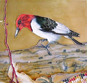 Red Headed Woodpecker Decorative Ceramic Wall Art Tile 6x6