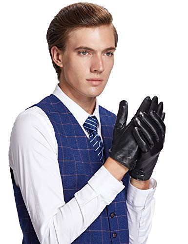 Sheeper Men's Touchscreen Leather Driving Gloves Motorcycle Gloves 2 Adjustable Button (Black) M by Sheeper (Image #3)