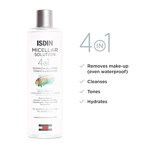 ISDIN Micellar Solution, 4 in 1 Makeup Remover, Cleanser, Hydrating Toner - Suitable for Sensitive Skin, 13.5 Fl. Oz.