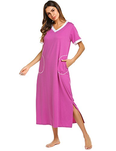Ekouaer Womens Ultra-Soft Full Length Sleepwear Night Dress (Purple Red, X-Large)