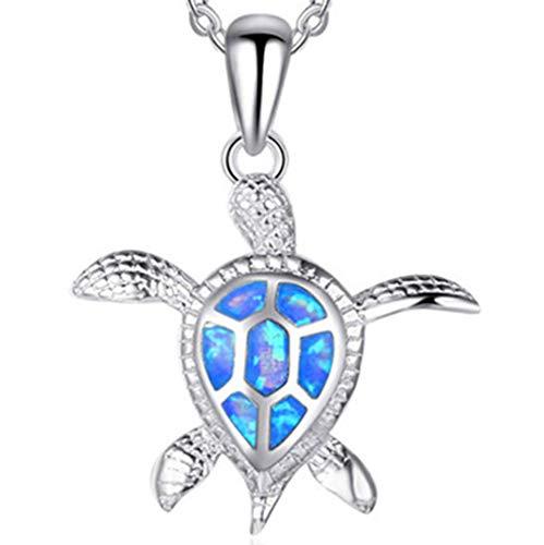 (LIYALI Turtle Pendant Necklace for Women (Blue))