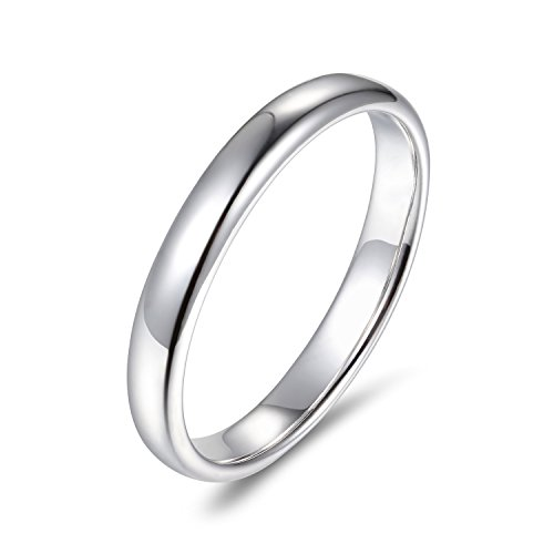 Lamrowfay Plain Comfort-fit 14K Gold Wedding Band, 3mm (White-Gold, 7.5)