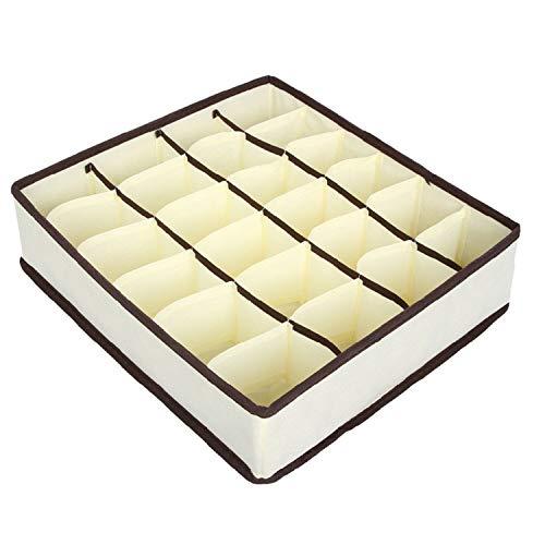 - Geminilee Drawer Closet Organizers Boxes for Underwear Bra Home Storage Non Woven Scarfs Socks Bra Organizer Storage Box,24 Grids