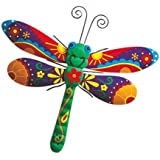 Stylish Metal Wall Art - Sturdy Metal Construction with Butterfly Dragonfly or Gecko Motive for Garden or House Wall - Painted Colorful Decoration, Easy to Hang Up and Perfect Gift (Dragonfly)
