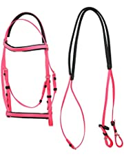 Horse Bridle, PVC Single Nose Ring Bridle, Waterproof Dirt-Resistant, Adjustable Horse Head Collar Horse Riding Racing Equipment Training Rope, Harness Supplies