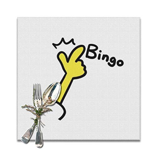 Placemats Square Set of 6 for Dining Room Kitchen Table Decor, Bingo Finger Sign Print Table Mats Washable]()