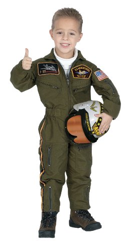 Air Force Pilot Costume (Jr. Armed Forces Pilot Suit with Helmet, size 4/6)