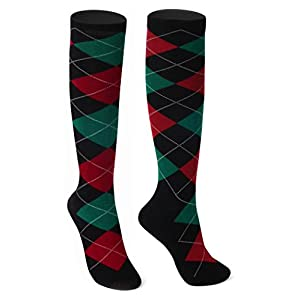 Delisocks Women's Cool Cute Casual Cotton Novelty Green Argyle Knee High Socks, Free Size