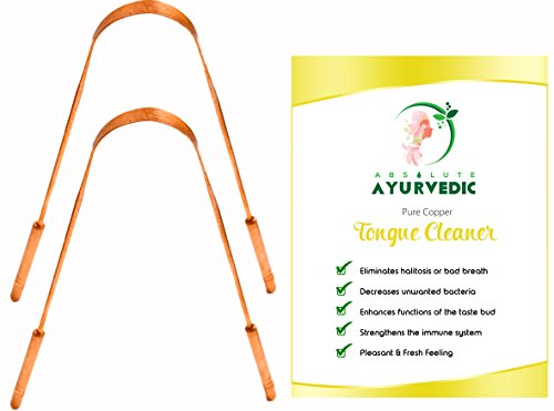 Copper Tongue Scraper For Daily Oral Hygiene With Instruction Card & - Dentist Recommended Tongue Cleaner For Halitosis Treatment, Toxic Removal & Fresh Breath (Pack of 2) by Absolute Ayurvedic