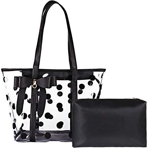 FF1 Women Waterproof Clear Tote Bags Shoulder Bag Handbag Beach Bag Shopping Bag Work Bag Black