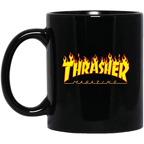 Magazine Thrasher Words On Fire Yellow And Red Coffee Mug - 11Oz Black Mug For Savage Friends Lover Wife Husband Mother Father In Christmas Halloween Birthday Valentine Mother's Day]()