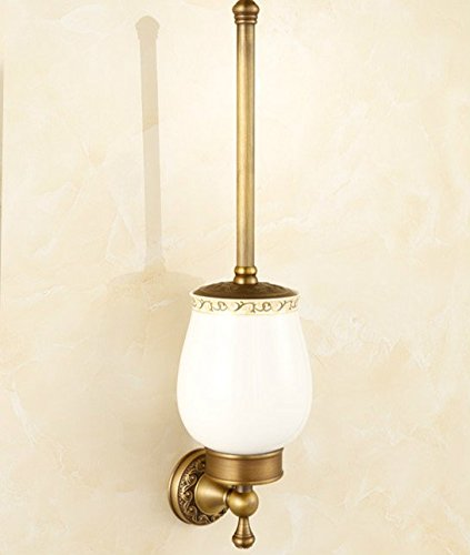 Brushed Bronze Wall - AUSWIND Antique Bronze Brushed Brass&Carved Wall Mounted Bathroom Hardware HW (Toilet Brush Holder)