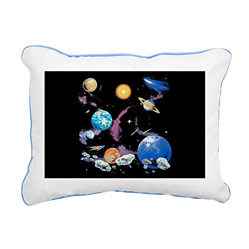 Rectangular Canvas Throw Pillow Caribbean Blue Solar System And Asteroids by Royal Lion